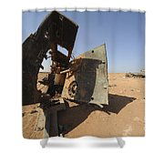 A Tracked Artillery Vehicle Destroyed Shower Curtain by Andrew Chittock