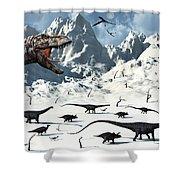 A  Tyrannosaurus Rex Stalks A Mixed Shower Curtain by Mark Stevenson