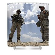 A U.s. Army Soldier Communicates Shower Curtain by Stocktrek Images