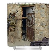 A U.s. Marine Searching Shower Curtain by Stocktrek Images