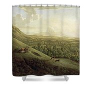 A View Of Boxhill - Surrey Shower Curtain by George Lambert