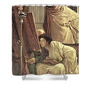 A Visit To The Studio Shower Curtain by Sir Lawrence Alma-Tadema