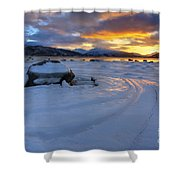 A Winter Sunset Over Tjeldsundet Shower Curtain by Arild Heitmann