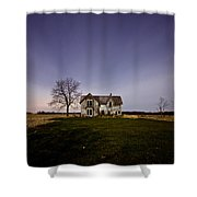 Abandoned Farmhouse At Night Shower Curtain by Cale Best