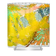 Abstract Guitar Shower Curtain by David G Paul
