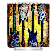 Abstract Guitars Shower Curtain by David G Paul