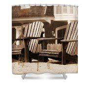 Adirondack Chairs On The Beach - Jersey Shore Shower Curtain by Angie Tirado