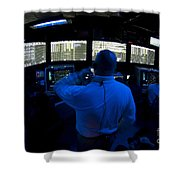 Air Traffic Controller Watches Shower Curtain by Stocktrek Images