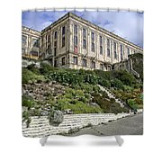 ALCATRAZ CELL HOUSE WEST FACADE Shower Curtain by Daniel Hagerman