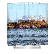 Alcatraz Island In San Francisco California . 7d14031 Shower Curtain by Wingsdomain Art and Photography