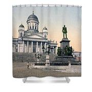 Alexander II Memorial At Senate Square In Helsinki Finland Shower Curtain by International  Images