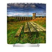 Alwen Reservoir Shower Curtain by Adrian Evans