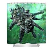 Amoeba Green Shower Curtain by Russell Kightley