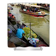 Ampawa Floating Market Shower Curtain by Adrian Evans