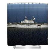 Amphibious Assault Ship Uss Peleliu Shower Curtain by Stocktrek Images