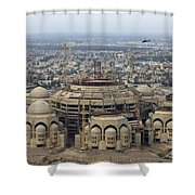 An Aerial View Of Saddam Hussiens Great Shower Curtain by Terry Moore