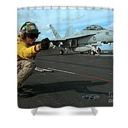 An Airman Gives The Signal To Launch An Shower Curtain by Stocktrek Images