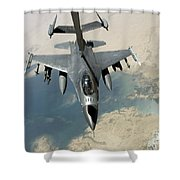 An F-16 Fighting Falcon Refuels Shower Curtain by Stocktrek Images