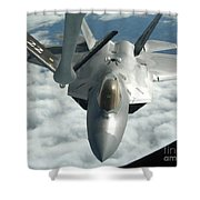 An F-22a Raptor Refuels With A Kc-135 Shower Curtain by Stocktrek Images