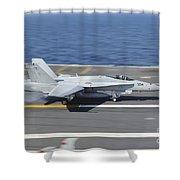 An Fa-18c Hornet Lands Aboard Uss Shower Curtain by Stocktrek Images