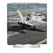 An Fa-18f Super Hornet Traps An Shower Curtain by Stocktrek Images
