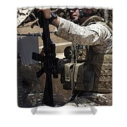 An Infantryman Talks To His Marines Shower Curtain by Stocktrek Images