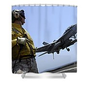 An Officer Observes An Fa-18f Super Shower Curtain by Stocktrek Images