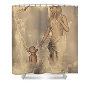 Aphrodite And Eros Shower Curtain by Lourry Legarde