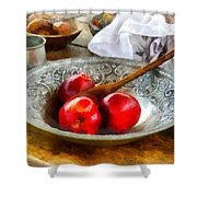Apples In A Silver Bowl Shower Curtain by Susan Savad