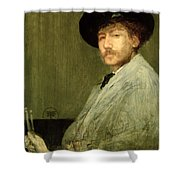 Arrangement In Grey - Portrait Of The Painter Shower Curtain by James Abbott McNeill Whistler