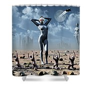 Artists Concept Of Mankinds Reliance Shower Curtain by Mark Stevenson