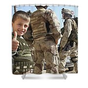 As A Father Is Questioned By Marines Shower Curtain by Stocktrek Images