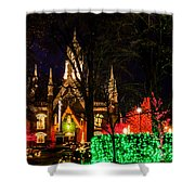 Assembly Hall Slc Christmas Shower Curtain by La Rae  Roberts