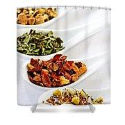 Assorted Herbal Wellness Dry Tea In Spoons Shower Curtain by Elena Elisseeva