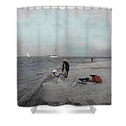 At The Beach Shower Curtain by Andrew Fare