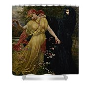 At The First Touch Of Winter Summer Fades Away Shower Curtain by Valentine Cameron Prinsep