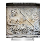 Athena Relief In Gdansk Shower Curtain by Artur Bogacki