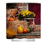 Autumn - Gourd - Autumn Preparations Shower Curtain by Mike Savad