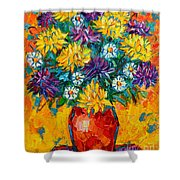 Autumn Flowers Gorgeous Mums - Original Oil Painting Shower Curtain by Ana Maria Edulescu