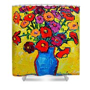 Autumn Flowers Zinnias Original Oil Painting Shower Curtain by Ana Maria Edulescu