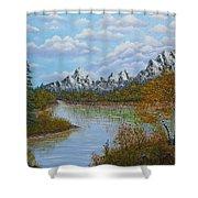 Autumn Mountains Lake Landscape Shower Curtain by Georgeta  Blanaru