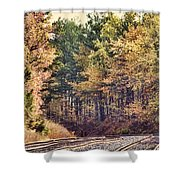 Autumn Railroad Shower Curtain by Douglas Barnard