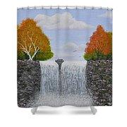 Autumn Waterfall Shower Curtain by Georgeta  Blanaru