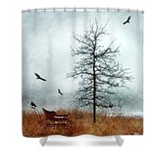 Baby Buggy By Tree With Nest And Birds Shower Curtain by Jill Battaglia