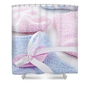 Baby Socks  Shower Curtain by Elena Elisseeva