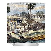 Baker Liberating Slaves In Africa, 1869 Shower Curtain by Photo Researchers