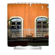 Balcony With Palms Shower Curtain by Perry Webster