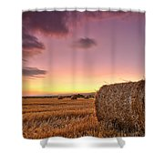 Bales At Twilight Shower Curtain by Evgeni Dinev