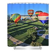 Balloons In Coolidge Park Shower Curtain by Tom and Pat Cory
