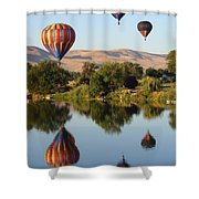 Balloons Over Horse Heaven Shower Curtain by Carol Groenen